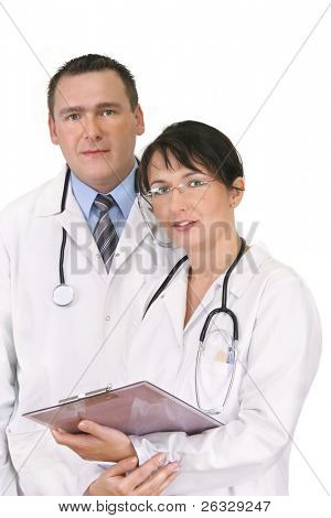 Two doctors isolated on white