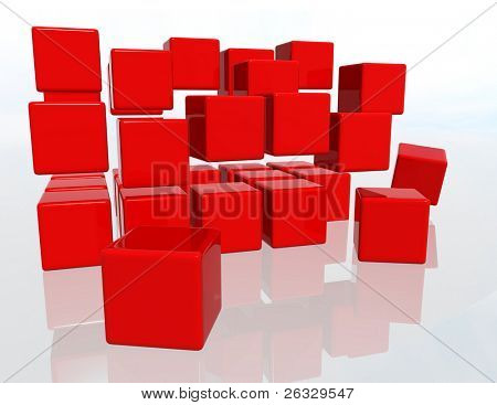 Red cubes over a white background