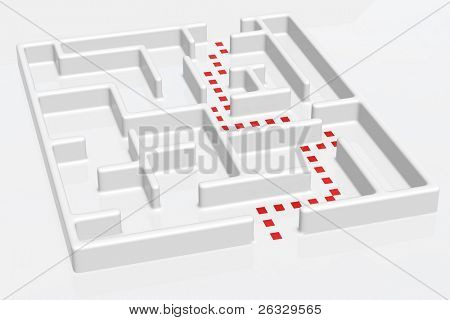 A maze with doted right way.