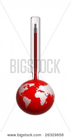 Earth and thermometer - idea of global warming, greenhouse effect.