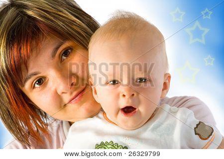 Sleepy baby with his mum.