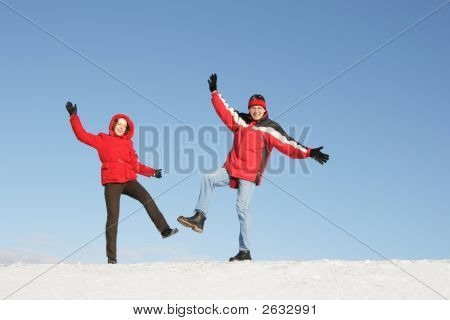 Couple Have Fun In Winter