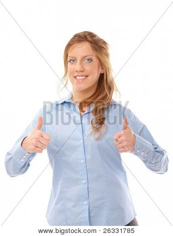 Closeup portrait of a beautiful young business woman showing thumbs up sign