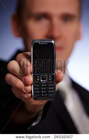 Business man holding a mobile phone, elegant modern design