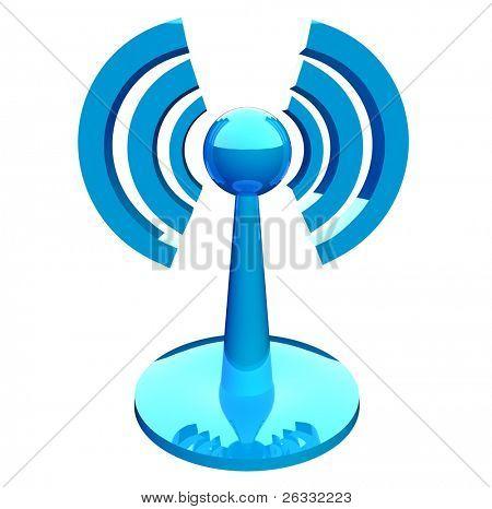 WiFi (wireless) azul moderno icono aislado sobre fondo blanco