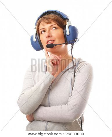 Beautiful woman pilot with headset used in aircraft isolated on white background. Similar headphones are also used in communication so image also suits for radio TV  commentator and ATC controller.