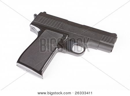Closeup of pistol isolated over white background