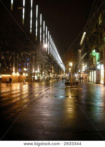 Zurich Bahnhofstrasse With Christmas Lights