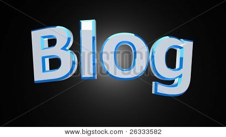 Blog white blue reflective word on black background