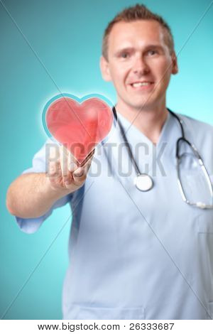 Medicine doctor with futuristic holographic heart interface