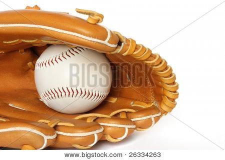 Baseball catcher mitt with ball on white background close up