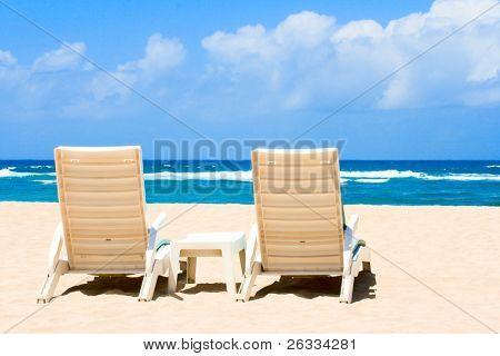 Beach chairs empty