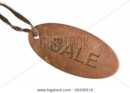 "Grunge metal tag   ""Sale"" with leather strap isolated on  white background"