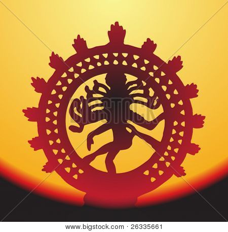 Statue of Shiva Nataraja on sunset
