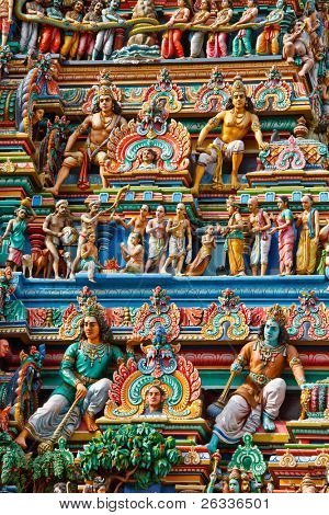 Gopuram (tower) of Hindu temple  Kapaleeshwarar., Chennai, Tamil Nadu, India