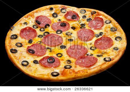 Pizza With Peperoni And Olives, Isolated