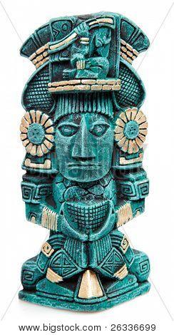 Estatua de Dios Maya de México aislado sobre fondo blanco