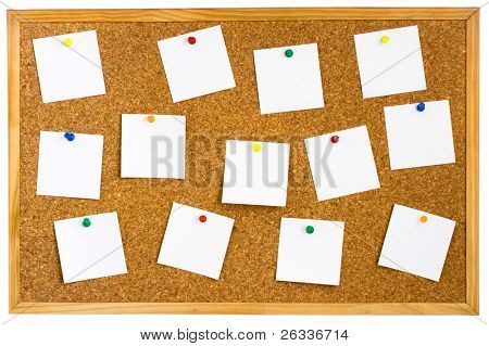 Corkboard with empty white notes pinned isolated on white