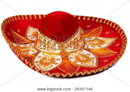 Red sombrero isolated on whit