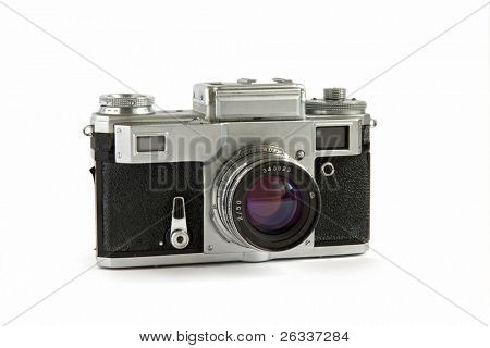 Old rangefinder camera isolated on white background