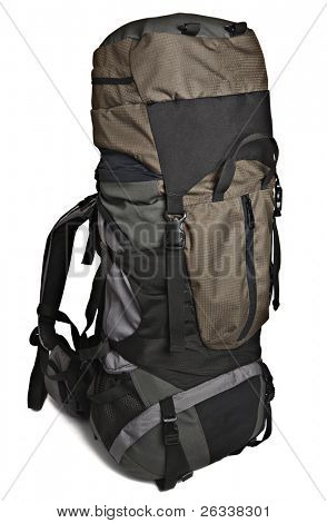 Trekking backpack (rucksack) isolated on white background