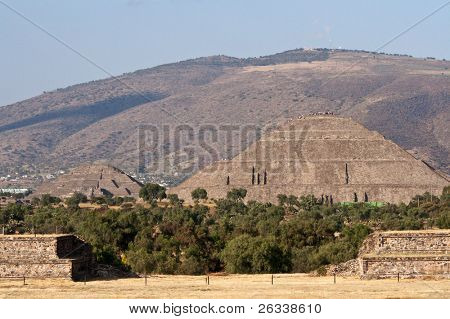 Pyramid of the Sun and Pyramid of the Moon. Teotihuacan. Mexico. View from the Pyramid of the Moon.