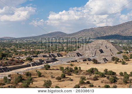 Pyramid of the Moon. View from the Pyramid of the Sun. Teotihuacan, Mexico