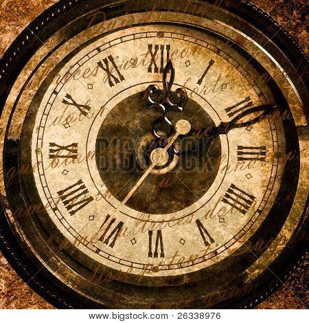 Concepto de tiempo - cara de reloj vintage con textura grunge y texto antiguo