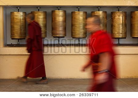 Buddhist monk (llama) passing and rotating prayer wheels on kora around Tsuglagkhang complex in McLeod Ganj, Himachal Pradesh, India