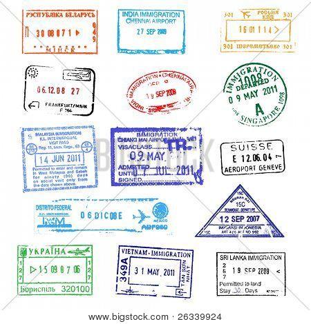 Passport stamps on white background