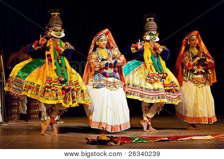 CHENNAI, INDIA - SEPTEMBER 9: Indian traditional dance drama Kathakali preformance on September 9, 2009 in Chennai, India. Actors portray Sita and Ravana (pretending sadhu) characters of Ramayana