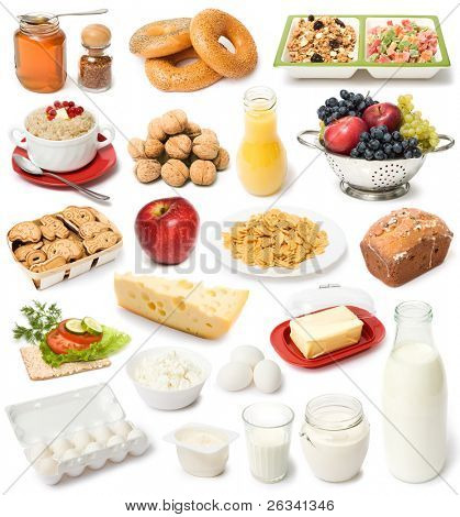 image set of fresh food on white background