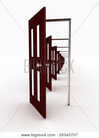 Many Open Doors Isolated On White Background. 3D Image