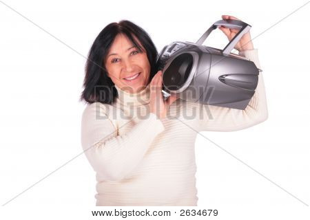 Woman With Radio