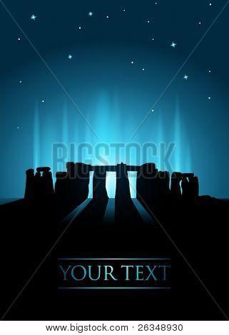 Stonehenge at night with stars