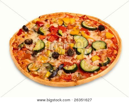 Vegetarian pizza with olives