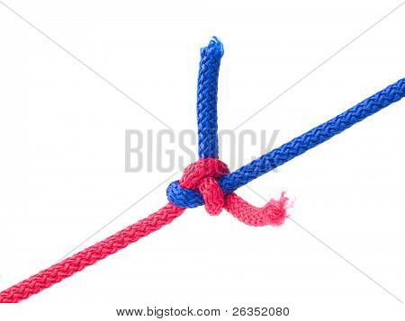 Knot from  cords isolated on  white. More  similar pictures in my gallery