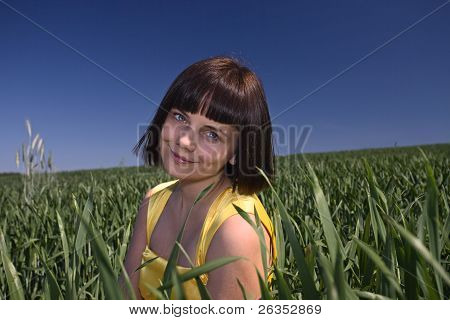 Young  Girl On A Meadow.