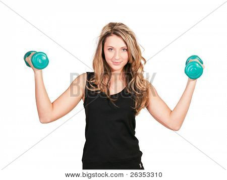 Girl working out with dumbbells