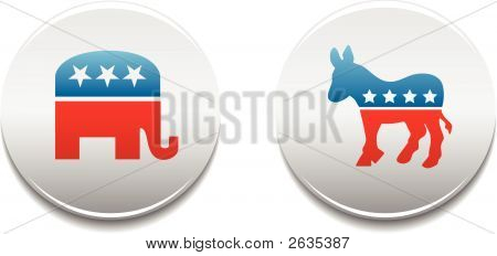 Democrat Republican Badges
