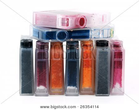 Set of ink printer cartridges on white background