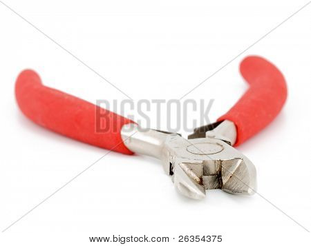 Red pliers isolated on white background