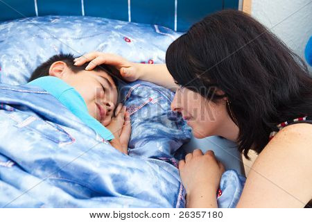 Mother and sleeper son
