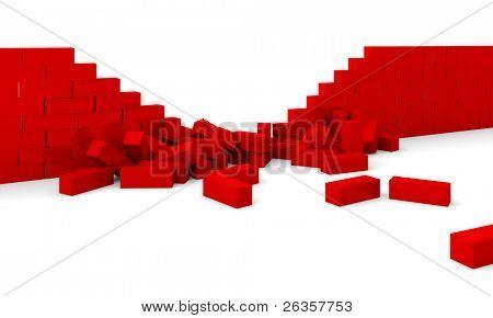 Zerstörung von einer Mauer