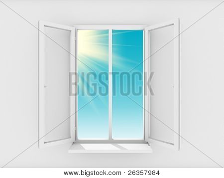 Sky and sun in open window