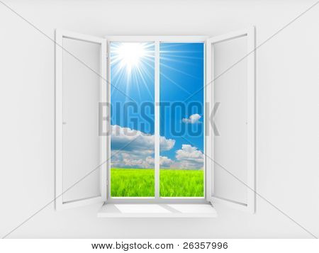 Sky and sun in open window