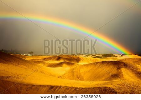 landscape, rainbow and dunes on Gran Canaries desert