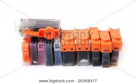 Inkjet cartridge on white background