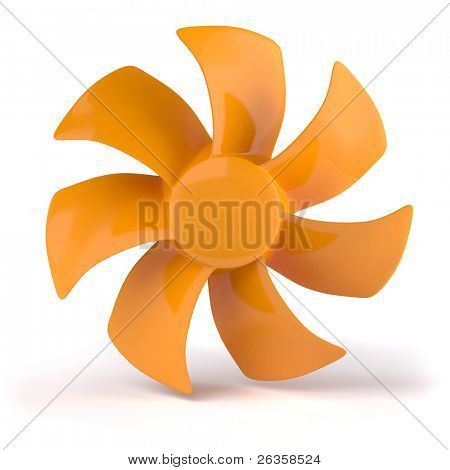 Orange propeller isolated on white