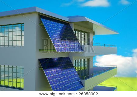 Solar cell  battery on house wall